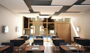 peredam suara dan akustik ruang restoran